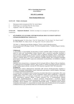 2012-es Osteológiai Kongresszus Absztraktfüzet 2012. 05.31