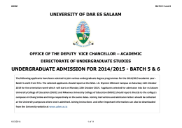 batch 5 & 6 - University of Dar es salaam