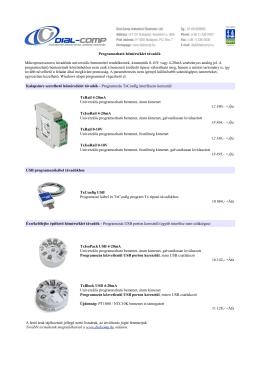 Programozható hőmérséklet távadók, árlista - Dial-Comp