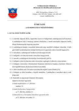 ÚTMUTATÓ - Nyíregyházi Főiskola Műszaki és Mezőgazdasági