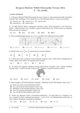 Kenguru Határok Nélkül Matematika Verseny 2014. 9 – 10. osztály