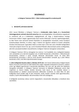 BESZÁMOLÓ - Collegium Talentum