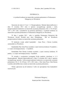 PO IK 113/13/13 O g ł oszenieo konkursie na stanowisko