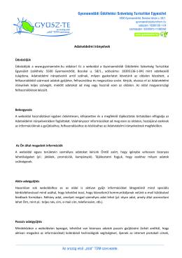 Adatkezelési irányelvek - Gyomaendre.hu Turisztikai oldal