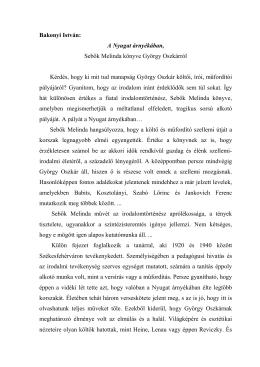 Bakonyi István: A Nyugat árnyékában, Sebők Melinda könyve