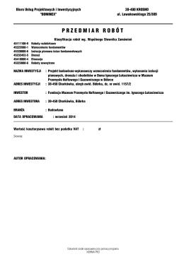 Opis Przedmiotu Zamówienia - Zamek Królewski na Wawelu
