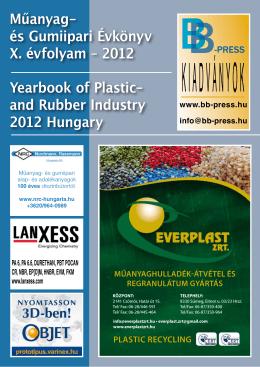 Műanyag- és Gumiipari Évkönyv X. évfolyam – 2012 Yearbook of