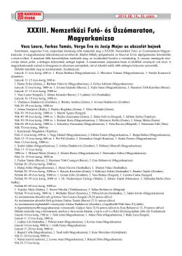 XXXIII. Nemzetközi Futó- és Úszómaraton, Magyarkanizsa