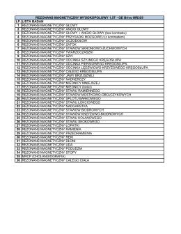 Cennik badań MRI format: PDF