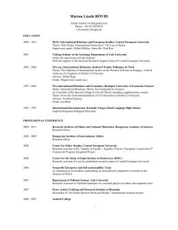 Márton László RÖVID - European Academic Network on Romani