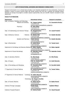 Curriculum 2014/2015 barzone.czigner.andrea@med.u