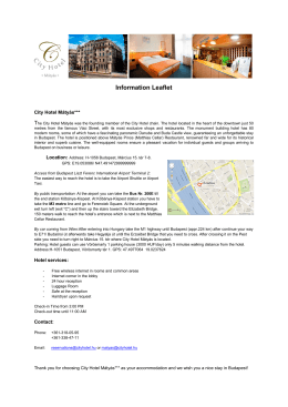 Information Leaflet - CityHotel Budapest