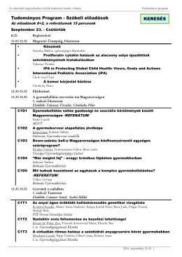 Tudományos Program - Szóbeli elıadások KERESÉS