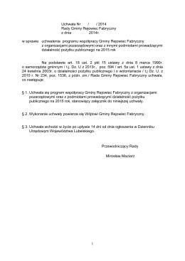 Program Współpracy INTERREG V A Brandenburgia – Polska 2014