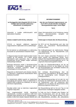 HÍRLEVÉL az Országgyűlés által elfogadott 2012.01.01 - Itag