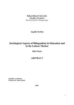 Sociological Aspects of Bilingualism in Education and in the Labour