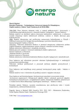 Szanowny Pan Prof. ATH dr hab. Marek Bernacki Dziekan Wydziału