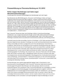 Presseerklärung zur Panorama-Sendung am 15.3.2012