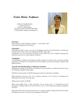 Najbauer CV 2011.pdf - Institute of English Studies