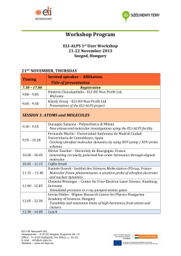 ELI-ALPS User Workshop