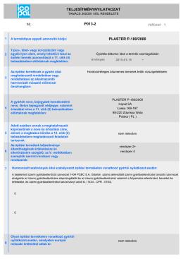 TELJESÍTMÉNYNYILATKOZAT változat sz. P013-2
