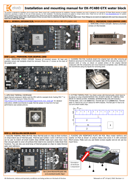 Installation and mounting manual for EK-FC480 GTX water