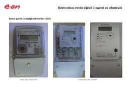 Elektronikus mérők kijelző üzenetek és jelentésük - E-on