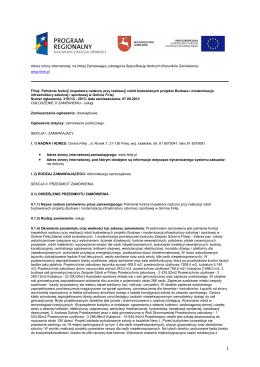 II Ogłoszenie o zamówieniu Dostawa i montaż instalacji solarnych