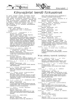 Könyvajánlat leendő fizikusoknak 2006