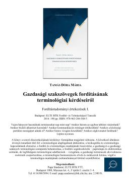 TAMÁS DÓRA MÁRIA Gazdasági szakszövegek fordításának