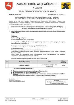Formularz oferty Na wykonanie usługi transportowej osadu