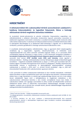 HIRDETMÉNY a GS1 Magyarország Nonprofit Zrt. dohánytermékek