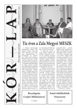 Tíz éves a Zala Megyei MESZK