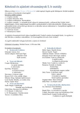 Kötelező és ajánlott olvasmányok 5. b osztály