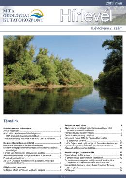 2013 nyár - A Duna-kutató Intézet beköszöntője