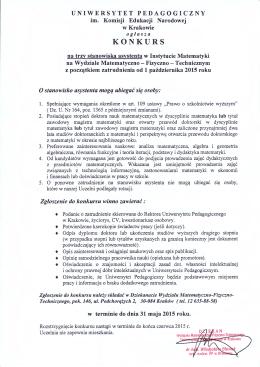 KONKURS - Uniwersytet Pedagogiczny w Krakowie