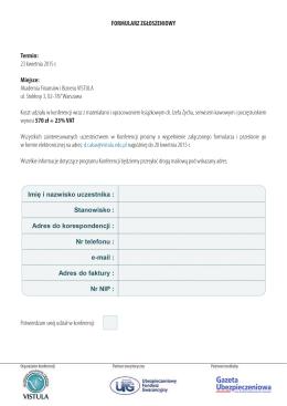 Formularz kontaktowy - Akademia Finansów i Biznesu Vistula