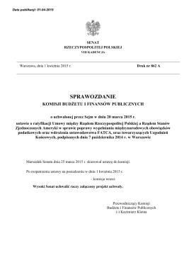 SPRAWOZDANIE - Senat Rzeczypospolitej Polskiej