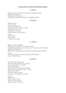 Kötelező olvasmányok listája - V. István Katolikus Szakközépiskola