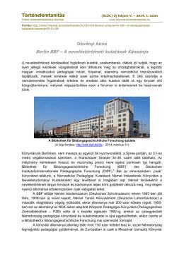 Berlin BBF – A neveléstörténeti kutatások