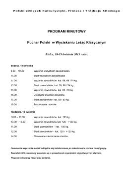 program minutowy - Polski Związek Kulturystyki, Fitness i Trójboju