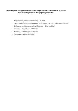 Harmonogram postępowania rekrutacyjnego w roku akademickim