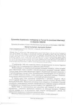 Dynamika liczebności nietoperzy w Forcie va podczas hibernacji