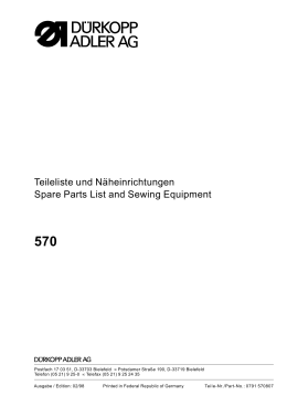 Teileliste und Näheinrichtungen Spare Parts List and Sewing