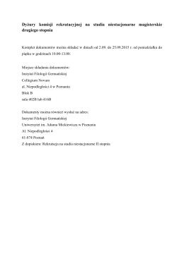 Dyżury komisji rekrutacyjnej - Instytut Filologii Germańskiej UAM w