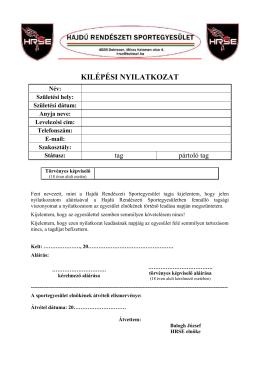 KILÉPÉSI NYILATKOZAT - Hajdú Rendészeti Sportegyesület