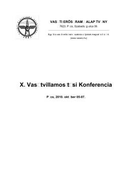 X. Vasútvillamosítási Konferencia