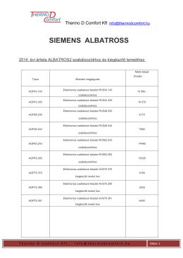 Siemens Albatros árlista 2014