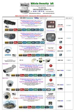 Mátrix Security CCTV - Akciós lista 2013 szeptember 01.-től!