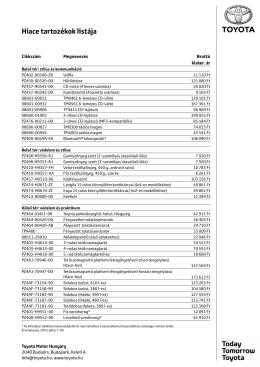 Hiace tartozékok listája